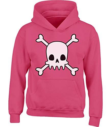 Kostüm Pirat Wow - Totenkopf Pirat Shirt Halloween Kinder Kostüm Kinder Kapuzenpullover Hoodie XL 152/164 (12-14J) Wow rosa