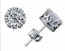WJkuku Pendientes de plata de ley 925, unisex, diseño de corona, con cristal austriaco, ideal como regalo