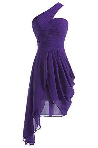 Fanciest Damen One Shoulder Blau Brautjungfernkleides Kurz Abendkleider Ballkleider Purple