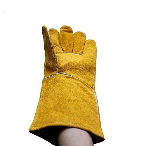 Backhandschuhe,Hitzebeständige Leder geschweißte Barbecue Mikrowelle Isolierung Hochtemperatur Schutz Handhabung Laden und Entladen Handschuhe Küchenhandschuhe