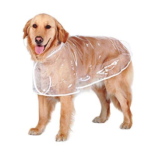 (Zhhyltt Wasserdicht Hund Regenjacke Ultraleicht - Hund Regenjacke Haustier Mantel mit Hut Haustier Regenjacke für Große und Mittlere Größe Hund Transparent Farbe)