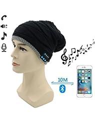 Bluetooth Outdoor Bonnet Cap,Amytech Casque Haut-parleurs stéréo et mains Mic appel téléphonique gratuit réponse, Comfy sans Bluetooth Headset Hat pour le ski de snowboard course à pied randonnée,Christmas Gifts,Noir