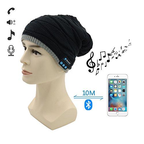 Berretto Bluetooth,Amytech Premium invernali all'aperto Knit Cap con Cuffia Stereo Senza Fili Auricolare Microfono Mani libere per iPhone Samsung Cellulari Android,Nero