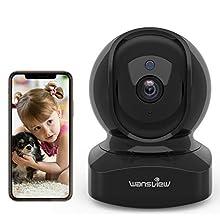 Telecamera IP WLAN, Wansview WiFi FHD 1080P con sensore di movimento, audio a 2 vie, visione notturna, Home e Baby Monitor Q5, nero