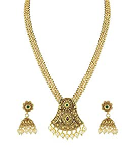 Zaveri Pearls Jewellery Set for Women (Golden) (ZPFK4879)