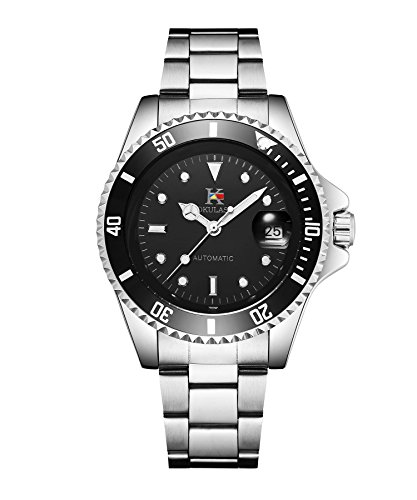 AOKULASIC Mens Automatic Mechanical Stainless Steel Watch with 100Ft Waterproof and Classic Date Displayer. (Black)