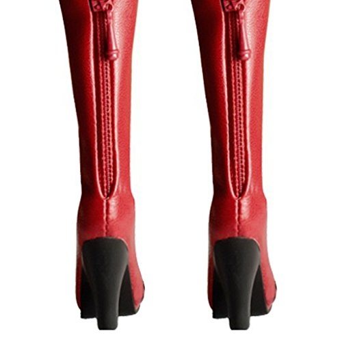 1:6 Frau Figur Kleidung Knie PU Leder Stiefel Schuhe Miniatur Boots Rot (Knie Boot Leder)