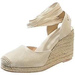 Sandalias con Cuña para Mujer, Sandalias con Plataforma Mujer, Zapatos de Tacón con Punta Abierta Correa De Tobillo para Mujer