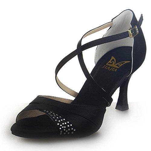 Jia Jia 20522 Damen Sandalen Ausgestelltes Heel Super-Satin mit Strass Latein Tanzschuhe Schwarz , 39
