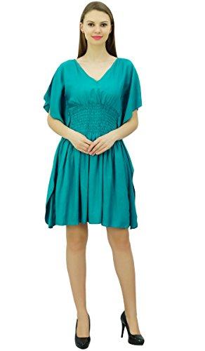 Bimba Frauen Kurze Rayon Kaftan Kimono Ärmel Smocked Taille Sommerstrand Vertuschung Knickenten Blau