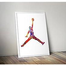 Acuarela inspirada en Michael Jordan - Póster Hombre chupa - Impresiones alternativas de TV / películas en varios tamaños (Marco no incluido)