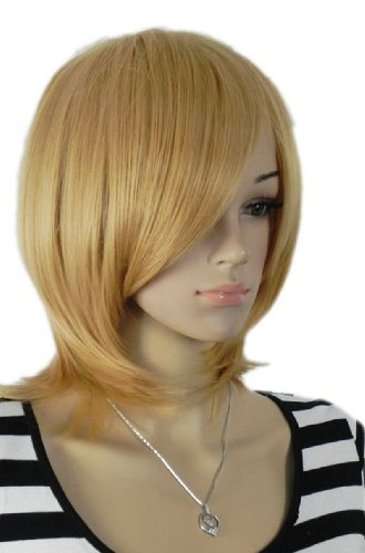 Qiyun Court Moyen Length Raide Blond Jaune Natural Looking Resistant a la Chaleur Fibre Synthetique Cheveux Complete Cosplay Anime Costume Perruque Mixte
