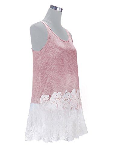 Anna-Kaci Casual Seafoam Vintage Floral Blumen Lace Trimm Detail Lässig Ärmellos Lose Fitting Lange Tunika Tank Top Pink