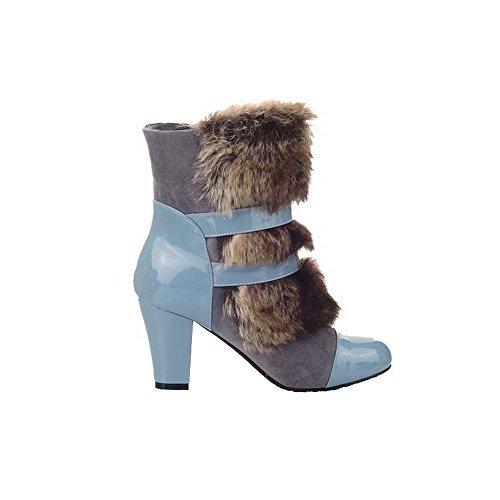 AllhqFashion Damen Rund Zehe Niedrig-Spitze Hoher Absatz Gemischte Farbe Stiefel, Blau, 40