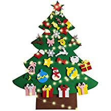 Vercico DIY Fieltro Árbol de Navidad Set con 30 Adornos Desmontables para Puerta Pared Colgante decoración