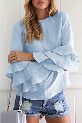 Minetom Donna Camicetta Blusa Maglia Maglietta Manica Lunga Elegante Moda Maniche Tromba Loose T Shirt Tops Blu