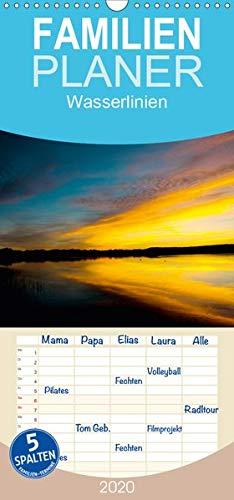 Wasserlinien - Familienplaner hoch (Wandkalender 2020 , 21 cm x 45 cm, hoch): Sonnen Auf- und Untergänge am Ammersee (Monatskalender, 14 Seiten ) (CALVENDO Natur)