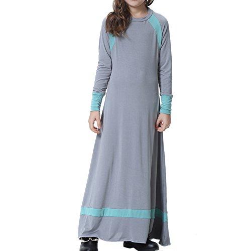 Zhuhaixmy Muslimisch Araber Mittlerer Osten Dubai Saudi Mädchen Lange Kleid Robe Abaya Türkei islamisch Kleidung Kinder Maxi Jersey Dresses Ethnisch Kaftan,TH604 (Kind Lust Kleider)