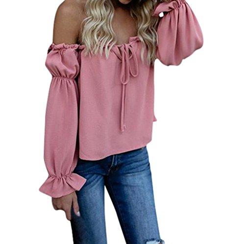 ESAILQ DamenSommer T-Shirt/Oberteile Kurzarm - Damen(M,Rosa)