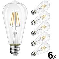LVWIT LED Filamento Lampadina E27 ST64 4W 2700K Bianco Caldo 470Lm Vintage Edison Stile 40W Incandescente Equivalente Non-dimmerabile 6-Pack