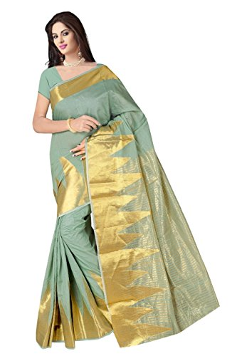 Boutique On Palm Bollywood Style New Generation Concept Party Wear Cotton Sarees (Pista Jacquard Yelook)