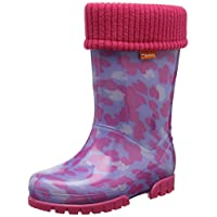 Demar Girls Kids Baby Girl Wellies Wellington Boots Rainy Snow Warm Liner Sock Little Hearts