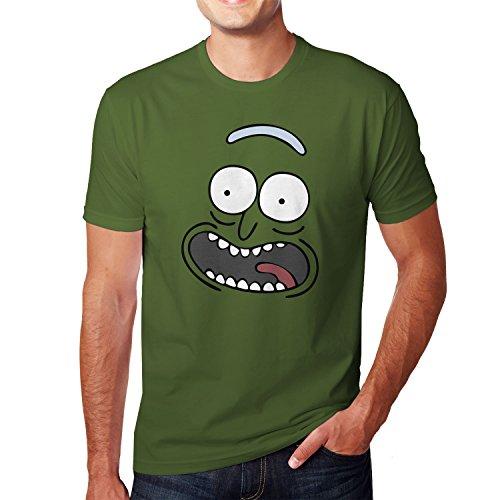 Planet Nerd Pickle Rick - Herren T-Shirt, Größe L, Oliv