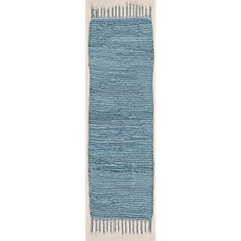 Flickenteppich blau  Homescapes Chindi Flickenteppich bunt Läufer 66 x 200 cm aus 100 ...
