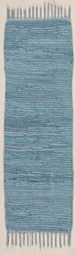 Läufer Fleckerlteppich Abano, aus 100% Baumwolle, strapazierfähig und robust, bis 30 C° waschbar Handwäsche, Farbe:Blau;Größe:60 x 200 cm