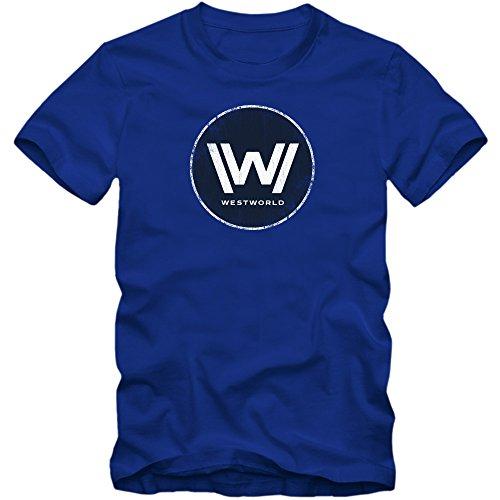 TWD T-Shirt | Men | Fantasy | Science-Fiction | TV Series Fun Shirts, Colour:Blue (Royal Blue);Size:XX-Large