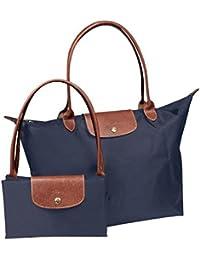 Lemish Waterproof Long Handle Nylon Foldable Shopping Handbag - Multi Color