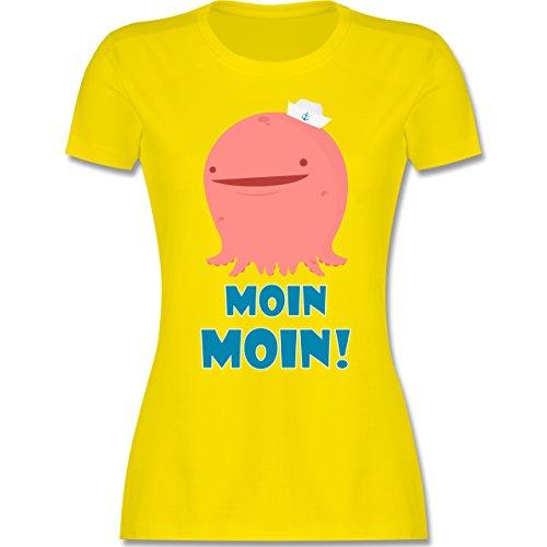 Comic Shirts - Oktopus Moin Moin - tailliertes Premium T-Shirt mit Rundhalsausschnitt für Damen Lemon Gelb