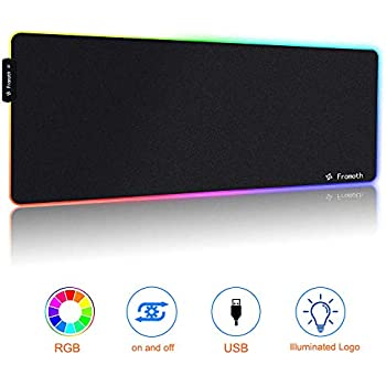 Laptop 800/×300/×4mm RedThunder RGB Gaming Mouse Mat Pad Large Thick PC Desktop XXXL Led Illuminated Extended Mousepad with Non-Slip Rubber Base Soft Computer Keyboard Mice Mat for Mac