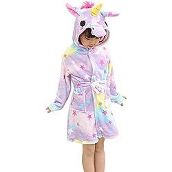 OKSakady Enfants Licorne Capuche Peignoir, Kid Unisexe Flanelle Arc-en-Ciel Star Chemise de Nuit Animal Cosplay Cartoon Costume Homewear Pyjamas pour Garçon Fille, Étoile, 140(pour la hauteur 130-140)