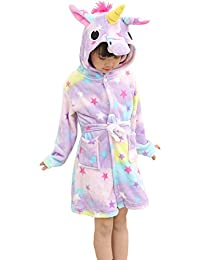 OKSakady Enfants Licorne Capuche Peignoir, Kid Unisexe Flanelle Arc-en-Ciel Star Chemise de Nuit Animal Cosplay Cartoon Costume Homewear Pyjamas pour Garçon Fille