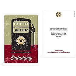 greetinks 20 x Einladungskarten zum Geburtstag (1-99 Jahre) 'Super Alter' in Rot | Personalisierte Geburtstagskarten zum selbst gestalten | 20 Stück Geburtstagseinladungen für JEDES Alter