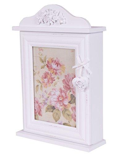 Charming House Design Shabby Chic de Madera Caja para Llaves Keys Holder Almacenamiento Ganchos montado en la Pared Blanco Rosas