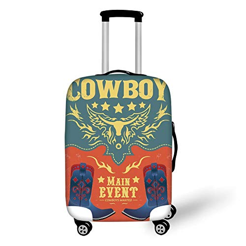Travel Luggage Cover Suitcase Protector,Western,Event Poster Design Traditional Cowboy Shoes Abstract Bulls Head Rodeo Decorative,Slate Blue Coral Yellow,for TravelL 25.9x37.8Inch