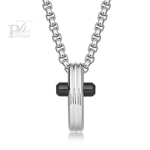 Brosway - collana in acciaio con pendente a forma di croce grande in acciaio lucido e pvd gun brosway brx05