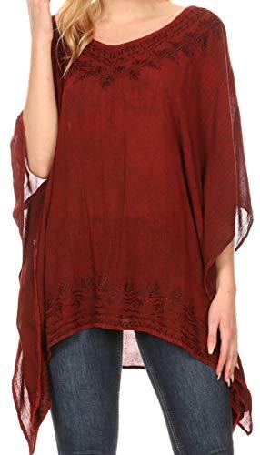 Sakkas 1801 - Regina Damen Leichte Poncho-Bluse aus Stonewashed-Top mit Kaftanüberzug - Rot - OS -