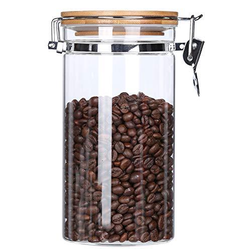 KKC Vorratsdose Glas mit Deckel Luftdicht -1,2 Liter- Glasbehälter- Lebensmittel Aufbewahrungsdosen für Nüsse,kaffeebohnen,Kaffeedose,Kaffee Vorratsdose