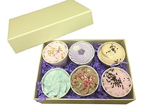 Bad- Kaffeeweißer Geschenk Set Box (6 x 50g) Bad- Trüffel Mit Schlagsahne Kakao Butter Perfekt für Muttertag Ostern oder Geburtstage