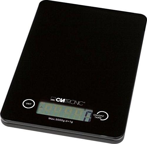 Clatronic KW 3366Elektronische Küchenwaage Schwarz-Küchenwaage (LCD, Schwarz, AAA, Glas, 135x 20x 210mm)