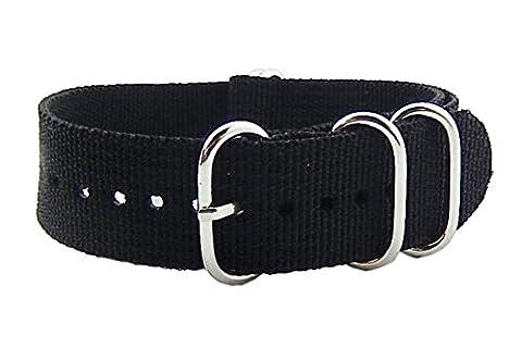 22mm noir luxe Bracelets style NATO nylon robuste durable haut de gamme pour les hommes bandes Remplacements