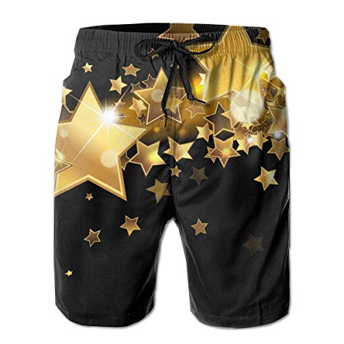 Men Boy Swim Trunks Black and Gold Star Beach Board Casual Running Shorts Quick Dry Swimming for Summer,Size:XXL (Board Gold Banana)