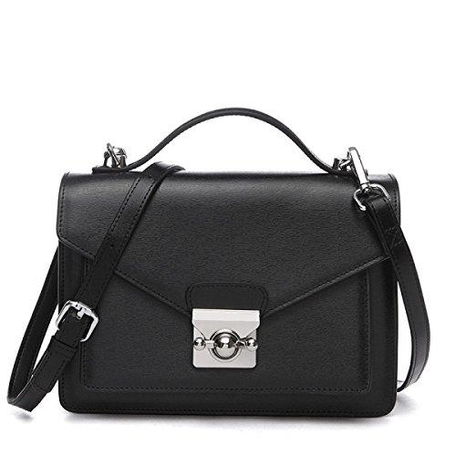 Damenmode Leder Handtasche Lässig Einfache Diagonal Umhängetasche Black