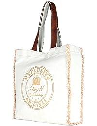 Large White Color Gold Printed Canvas Tote Shoulder Bag Stylish Shopping Casual Bag Foldaway Travel Bag