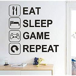 Sticker Mural Gamer Signe Fonds D'Écran Mangez Sommeil Jeu Répéter Amovible Art Vinyle Mural Home Room Decor Stickers Muraux Lettres Anglaises Diy Salon Décoration 51 * 51Cm