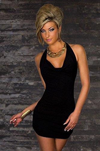 OUMIZHI Damen Sexy V Ausschnitt Rueckenfrei Kleid Minikleid Party Abendkleid Cocktailkleid Dress Skirt Schwarz