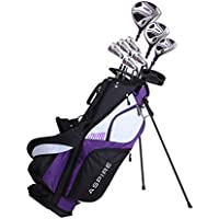 Aspire XD1 Ladies Womens Complete Right Handed Golf Clubs Set Includes Titanium Driver, S.S. Fairway, S.S. Hybrid, S.S. 6-PW Irons, Putter, Stand Bag, 3 H/C's Purple (Right Hand)